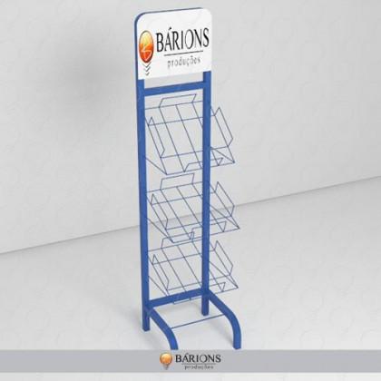 Display Expositor de Jornais com Estrutura Aramada e Testeira Personalizada