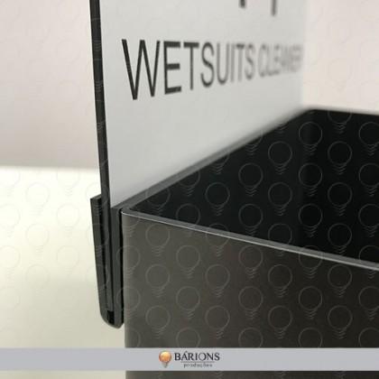 Display Expositor de Balcão em PS Preto com Testeira Removível Branca