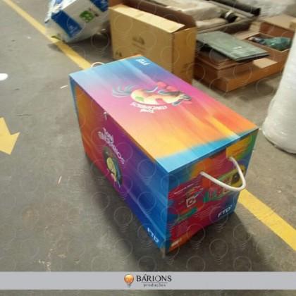Baú em MDF com Envelopamento de Adesivo Impresso