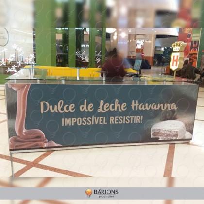 Quiosque Havanna com placa de PS com impressão UV
