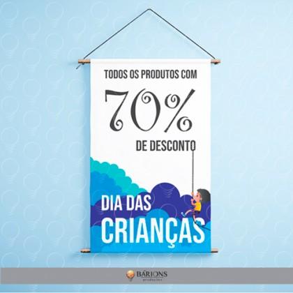 Banner com Bastão Ponteiras e Cordão | Dia das Crianças - 2020