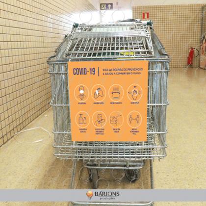 Placa de Sinalização Para Carrinho de Supermercado - COVID-19