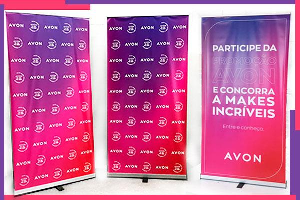 Banner roll up produzido e positivado pela Bárions Produções