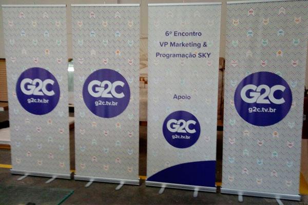 Banner rollup positivado pela Bárions Produções para a empresa G2C