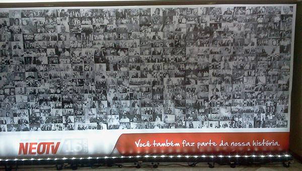 Painel produzido pela Bárions Produções para comemorar o 16 aniverário da NEOTV