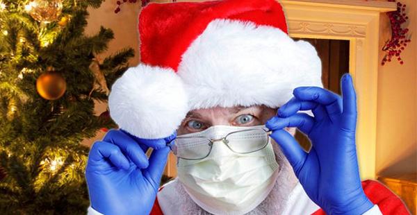 Papel Noel usando máscara de proteção COVID-19 | Bárions