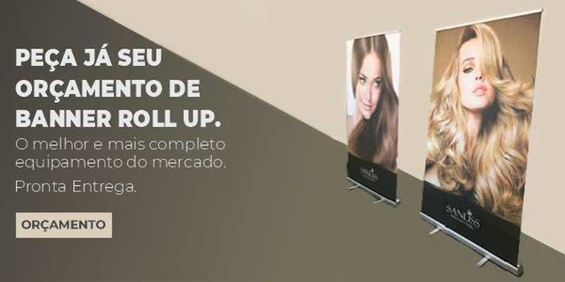 Banner promocional para divulgar os modelos roll ups vendidos pela Bárions Produções